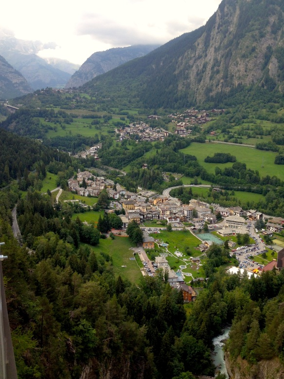 Pré Saint Didier Spa (the buildings bottom left of the town) from the viewpoint above.