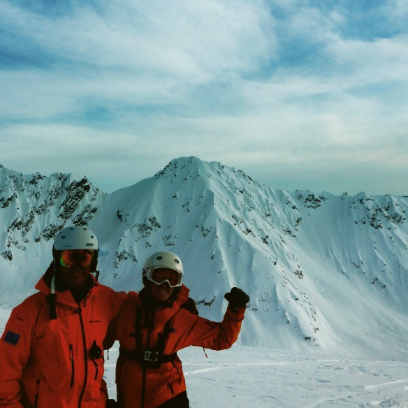 Our guide Andrew and I in front of Buddy Loves Spines - still high on Adrenaline!