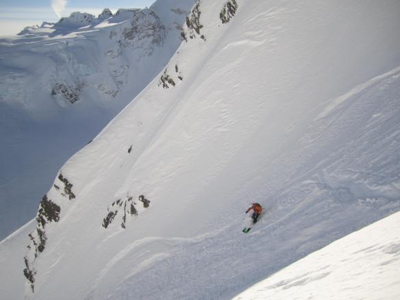 Skiing Alzie's Couloir amongst the amazing Cordova Glacier, one of the many breathtaking glaciers in the Chugach Mountains